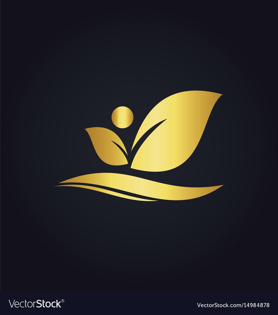 Leaf beauty organic gold logo