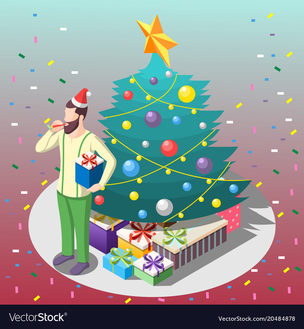 Man with gifts isometric composition
