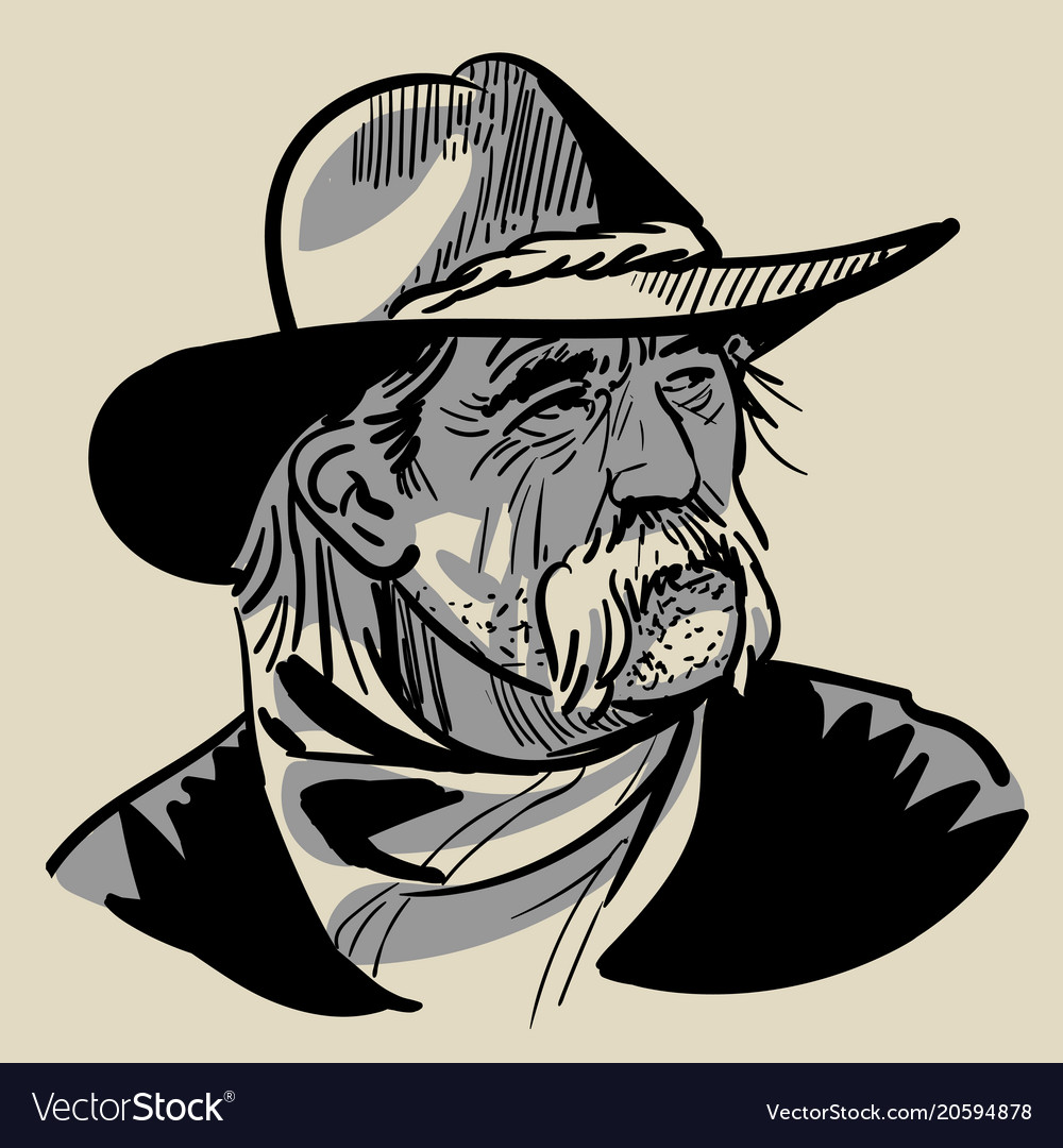 Old cowboy with a hat portrait digital sketch