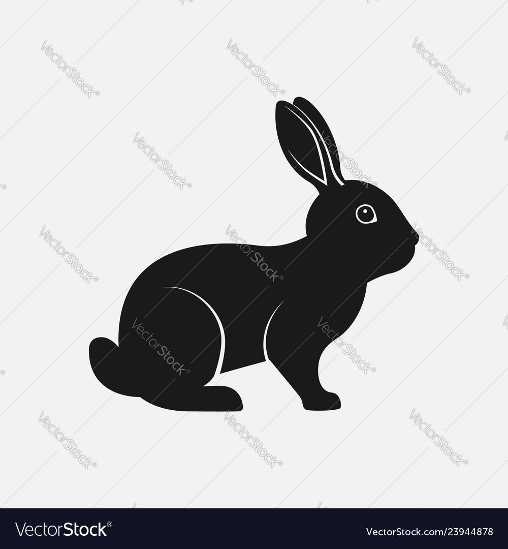 Rabbit black silhouette farm animal icon