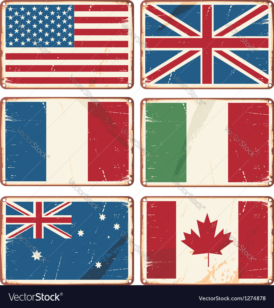 Retro tin signs with state flags