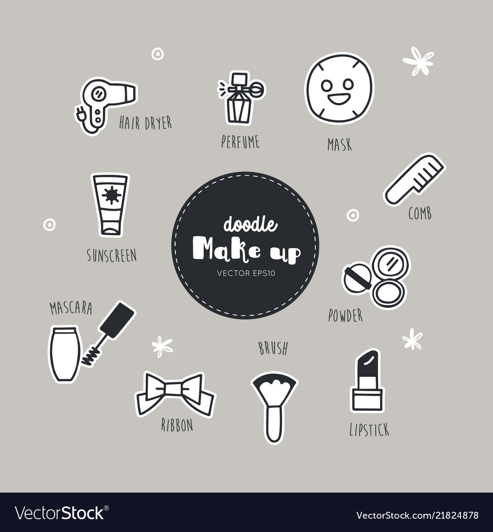 Set of make up icons doodle