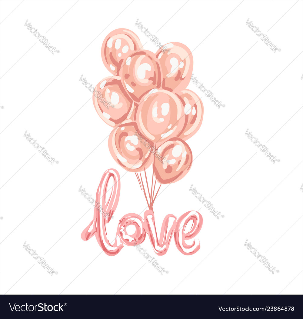 Set of pink white transparent balloon isolated in