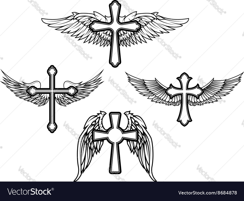Set Of The Cross With Wings Royalty Free Vector Image