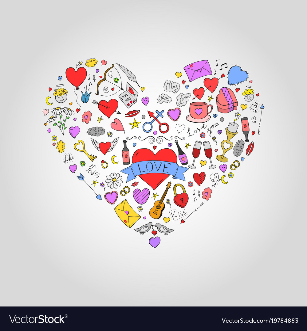 Abstract colorful heart with valentines day doodle
