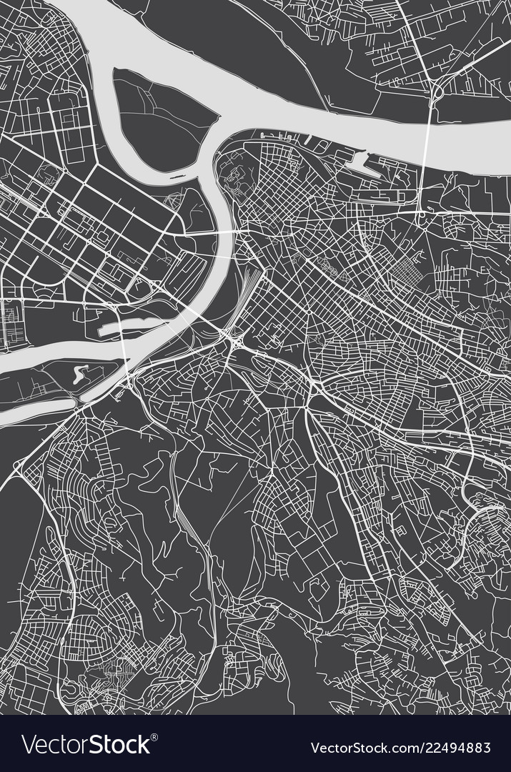 Belgrade city plan detailed map Royalty Free Vector Image on