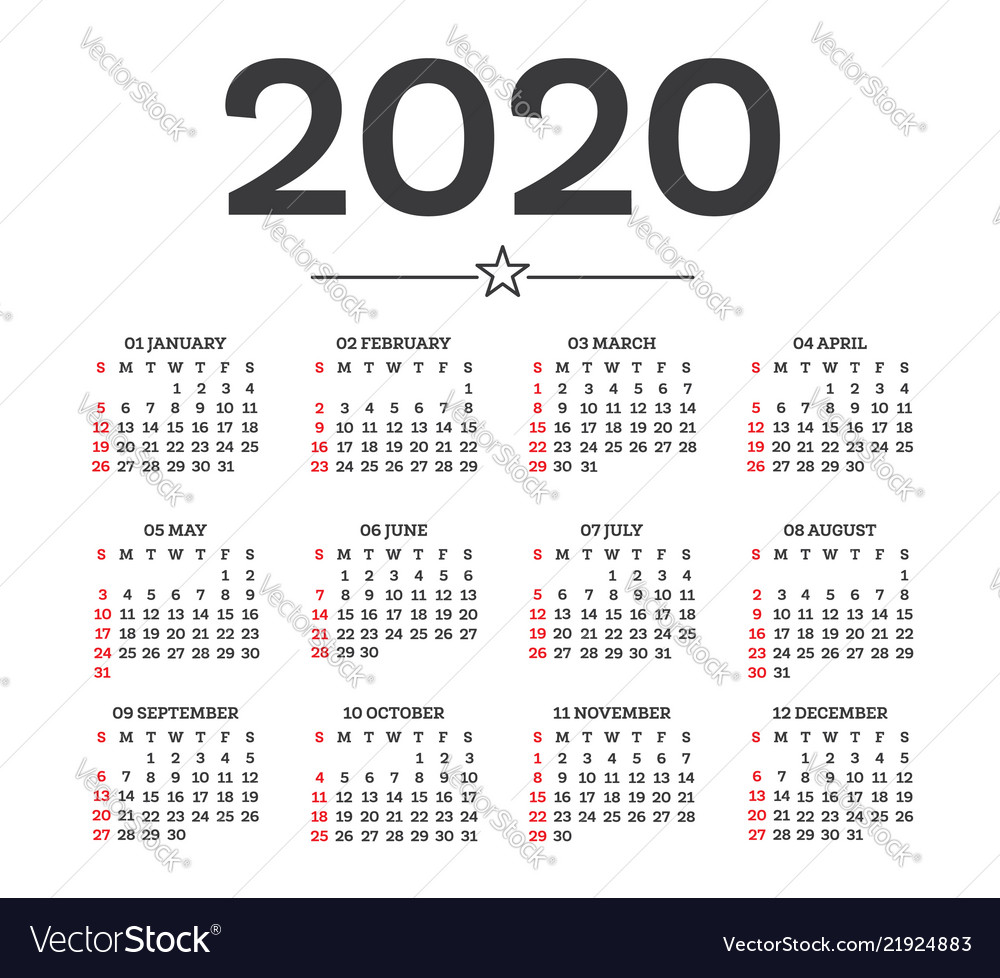 2020 Calendar By Weeks Calendar 2020 isolated on white background week Vector Image