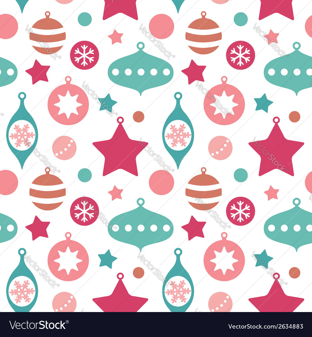 Christmas toys balls and baubles seamless pattern
