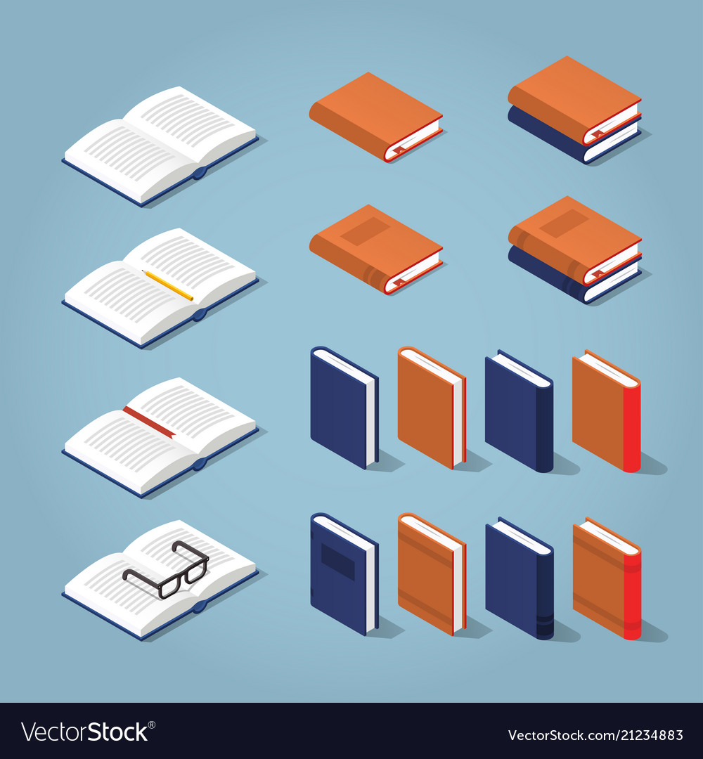 Colorful isometric book collection