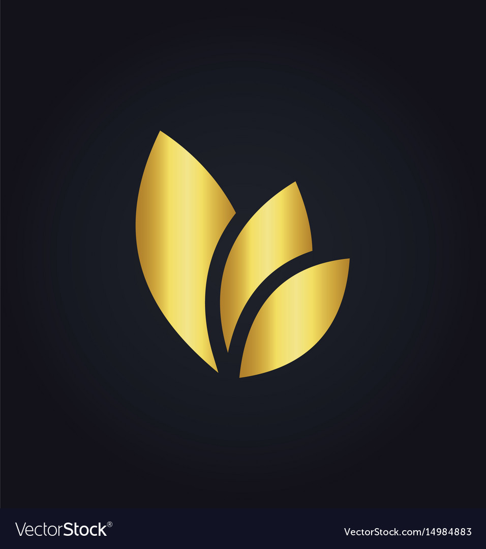Leaf eco colored gold logo