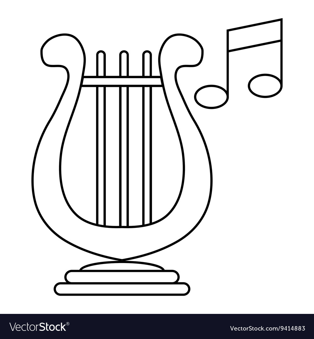 Lyre and two notes icon outline style vector image