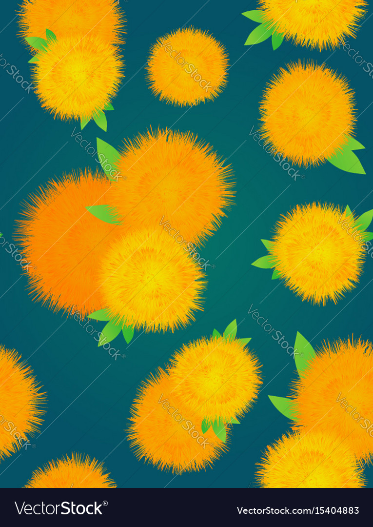 Seamless texture with yellow dandelions on a dark