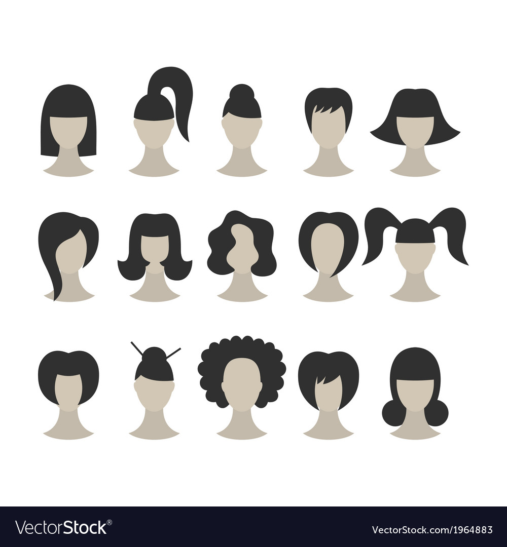Set of black hairstyles for woman isolated on whit vector image