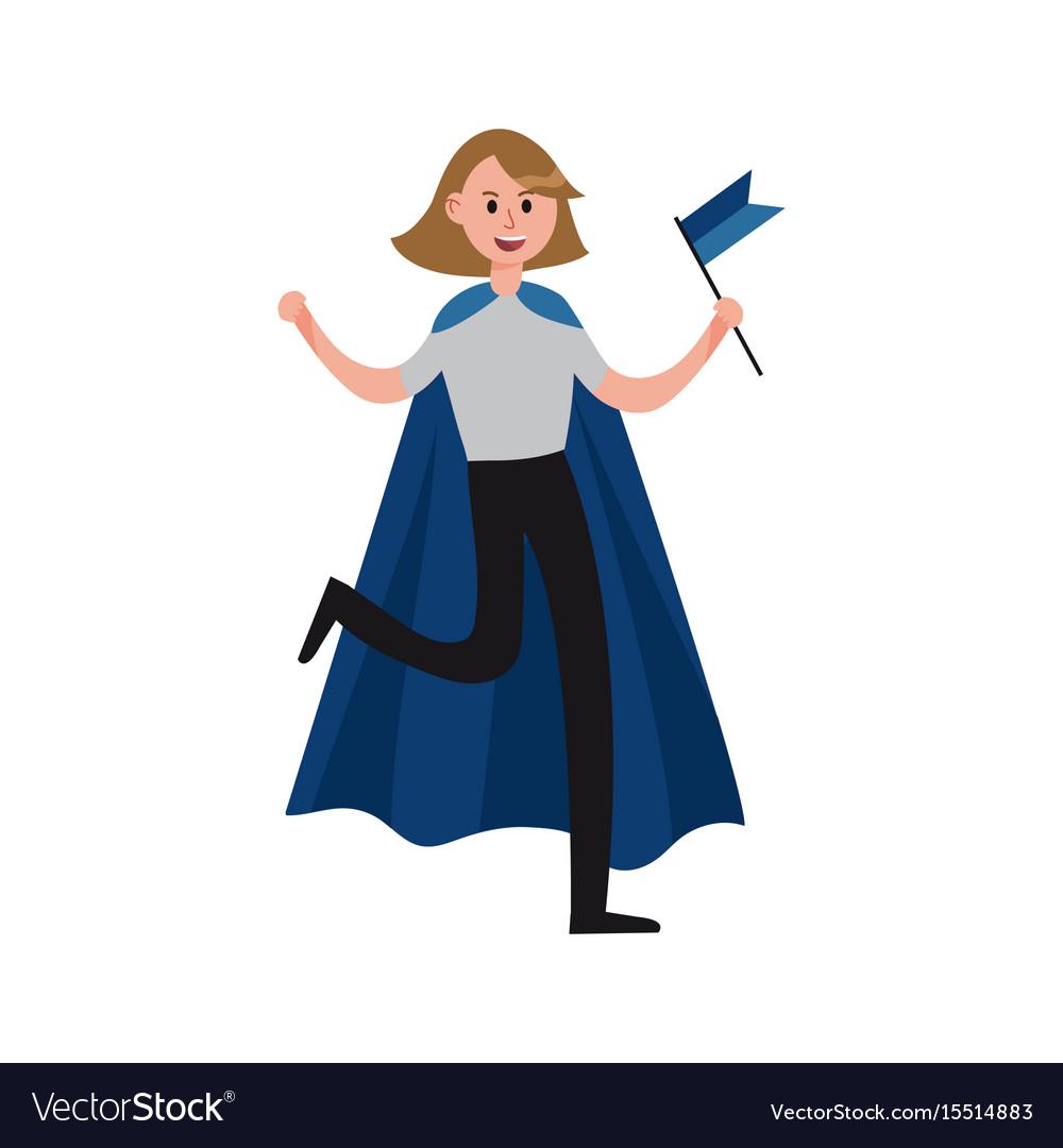 Smiling sports fan girl wearing blue cape vector image