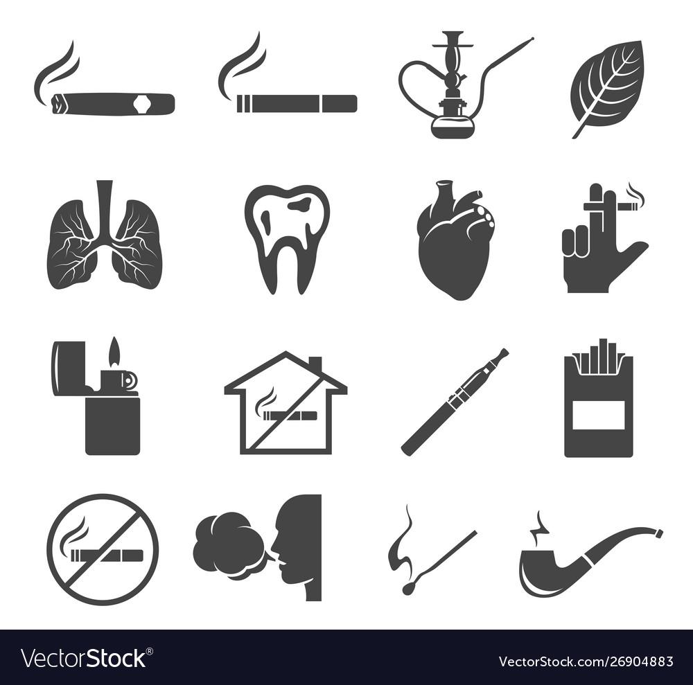 Smoking glyph icons set isolated on white