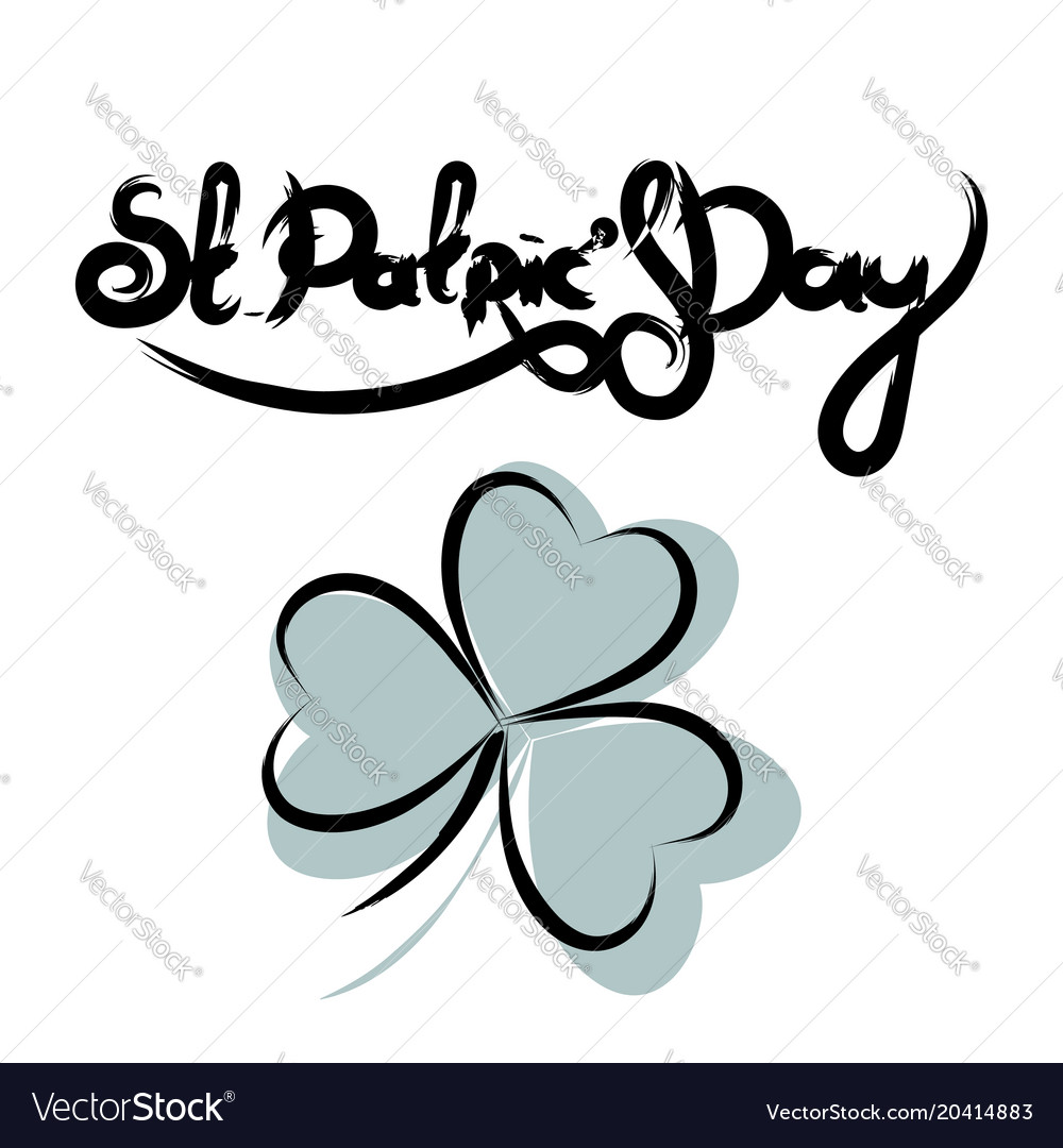 St patricks day lettering with shamrock