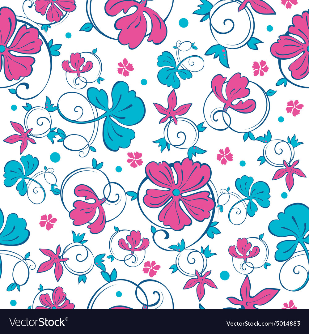 Teal And Pink Flowers Vector Images 53