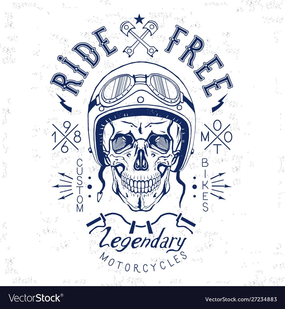 Vintage skull biker label monogram black isolated
