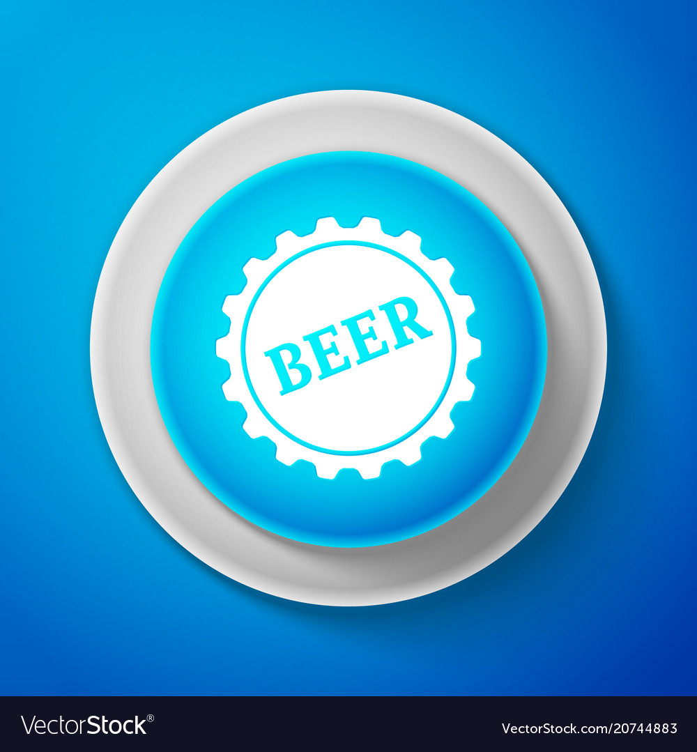 White bottle cap with beer word icon vector image