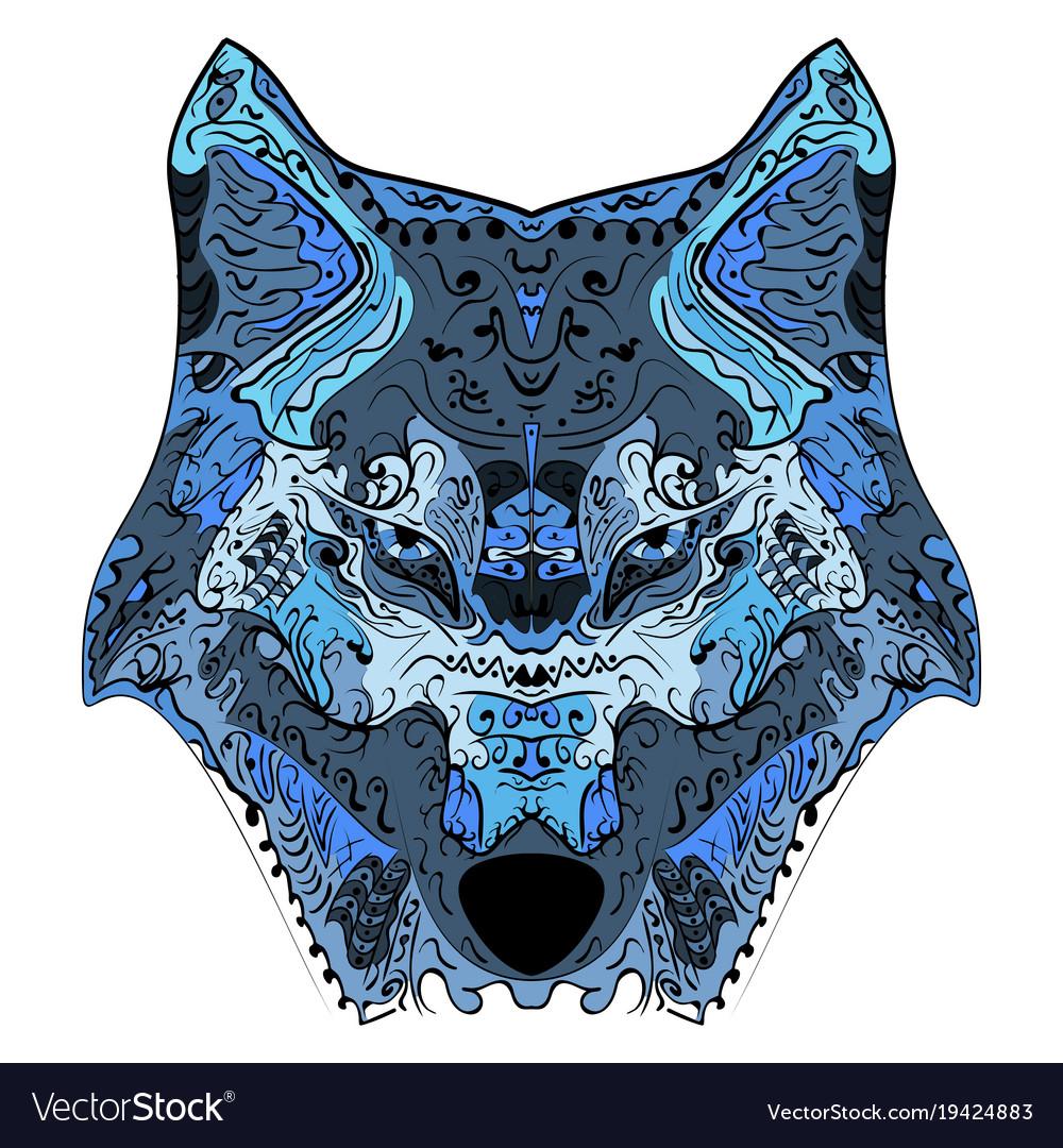 Wolf head zentangle stylized