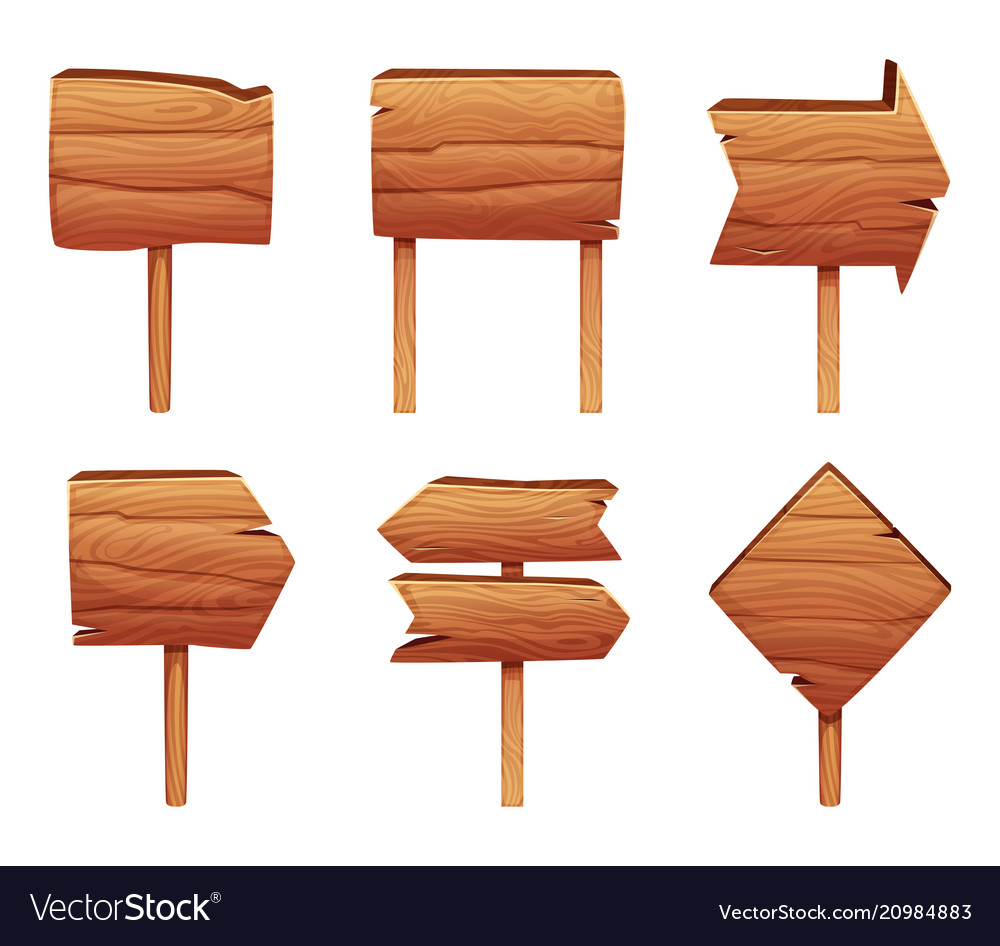 Wooden direction signs isolate on white background