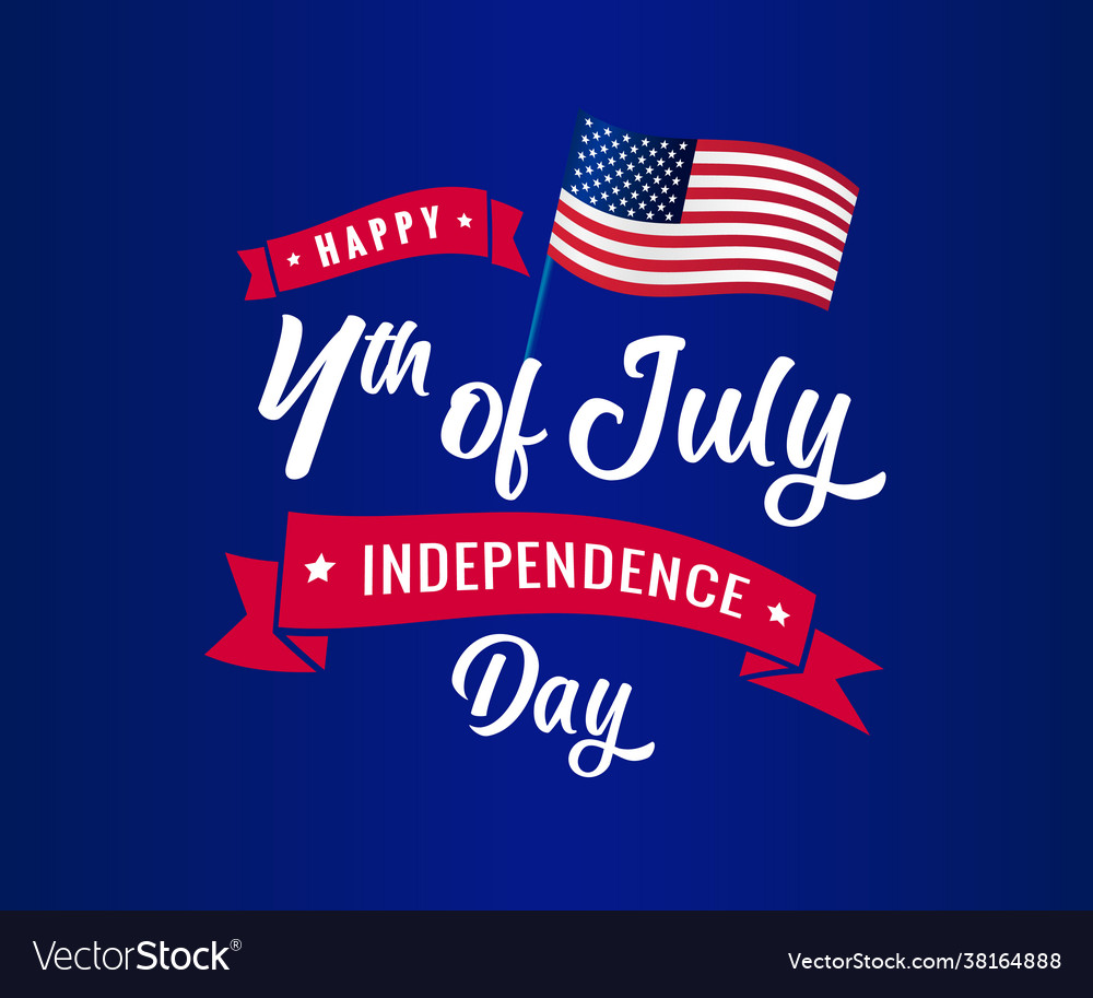 4th july independence day blue calligraphy bann