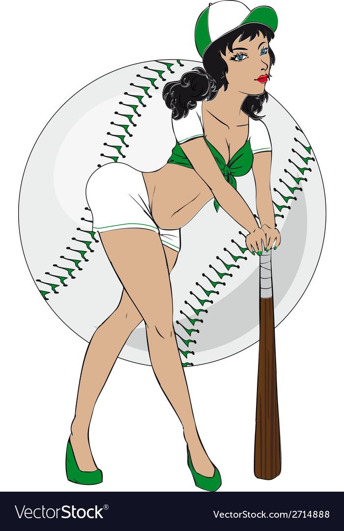 baseball pinup girl royalty free vector image vectorstock rh vectorstock com pin up girl vector art free pin up girl tattoo vector