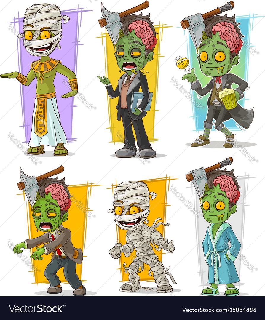 Cartoon zombie mummy monster character set