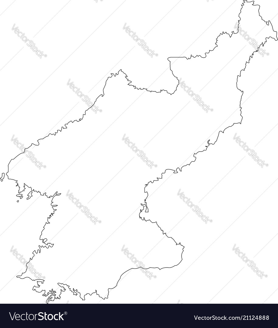 Contour Map Of South Korea Map Black Outline Nort Vector Image