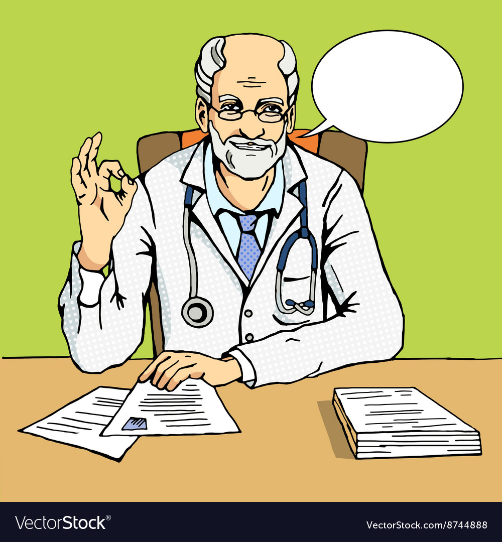 Doctor shows gesture Ok comic book