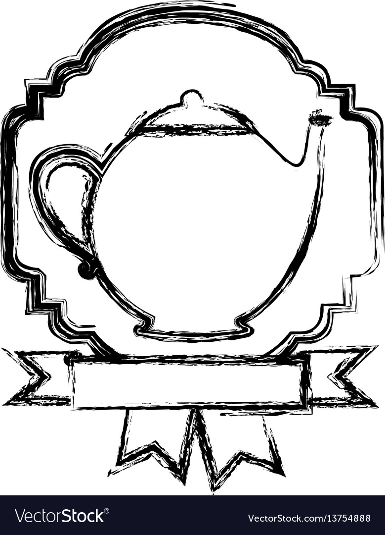 Emblem teapot with ribbon icon