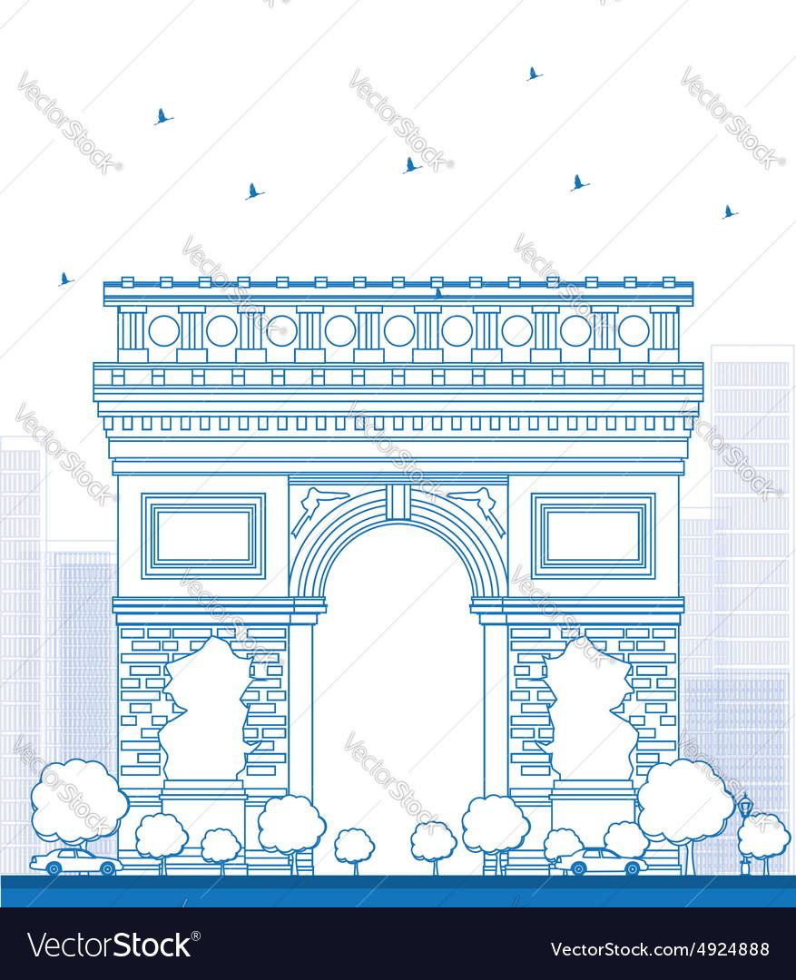 Outline Arch of Triumph in Paris vector image