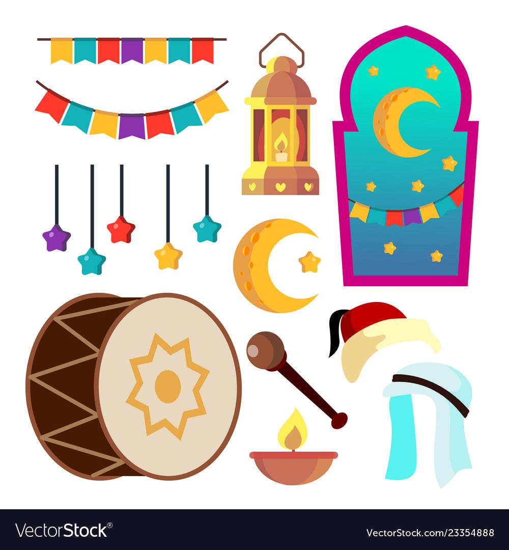 Ramadan icons muslim islam symbols moon