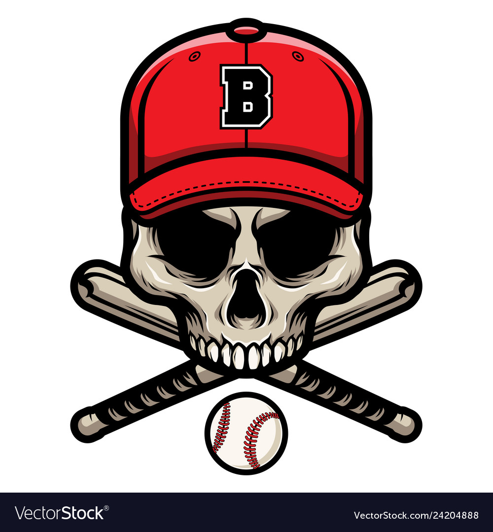 Skull with crossed baseball bat and wearing a cap