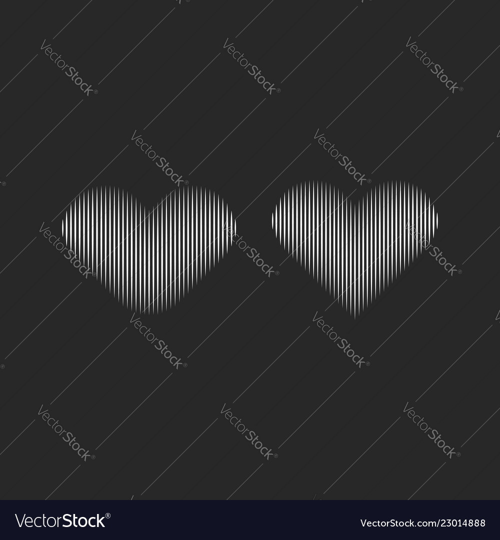 Striped heart silhouettes for logo design or
