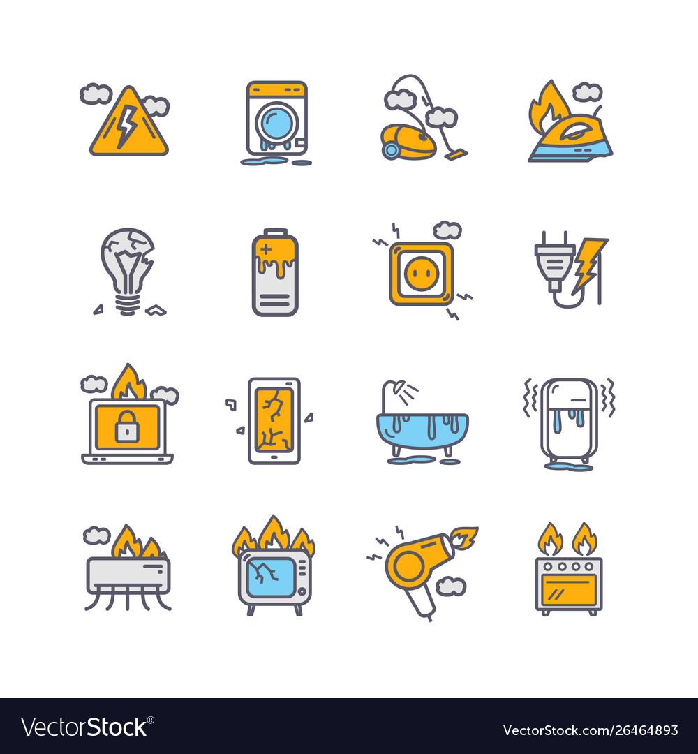 Broken appliances color thin line icon set