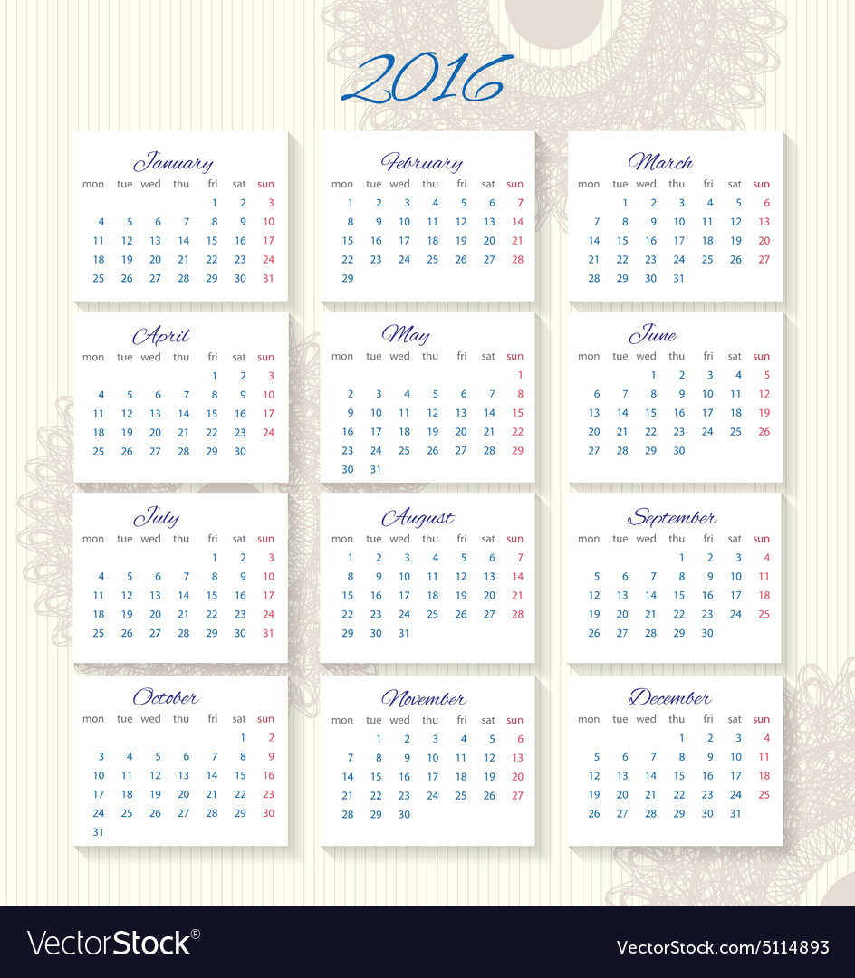 Office Calendar 2016 : Calendar starting from monday royalty free vector image