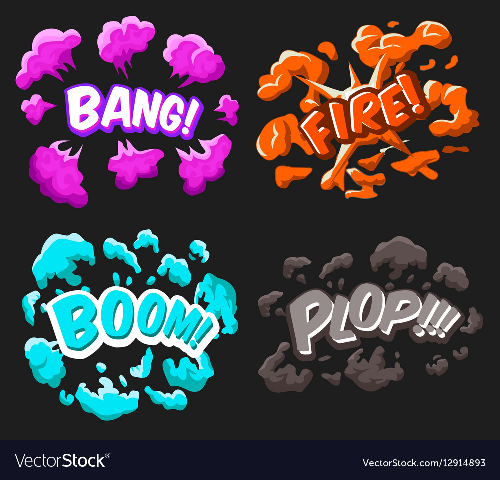 Cartoon explosion effects set
