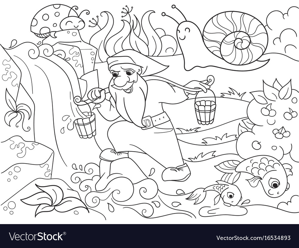 Childrens coloring forest a magic dwarf is vector image