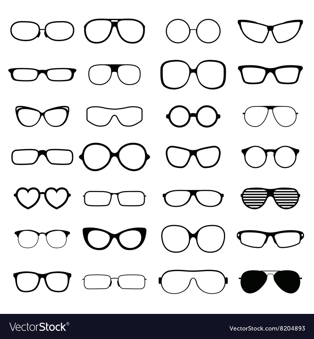 Collection various styles of fashion glasses solid