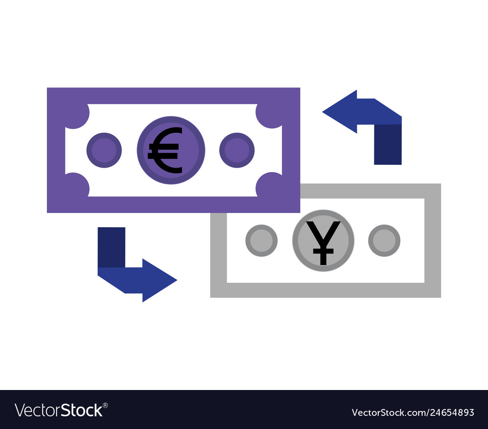 Banknote Yen Euro Transfer Vector Image
