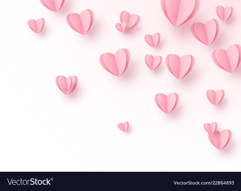 Heart background with light pink paper cut hearts