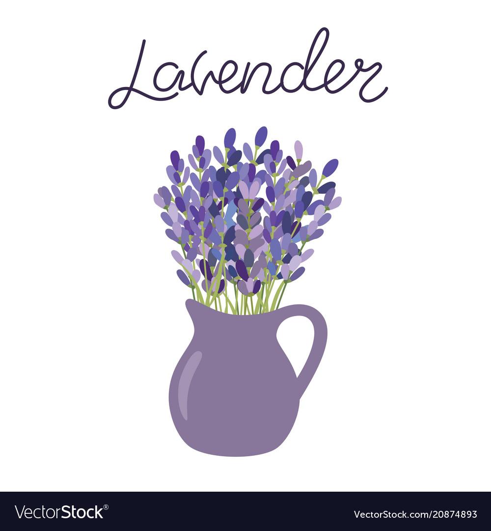 Lavender flowers in a vase lettering lavender