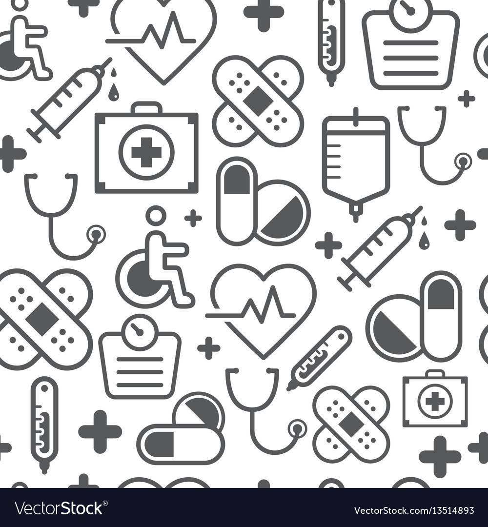 Line style icons seamless pattern medicine