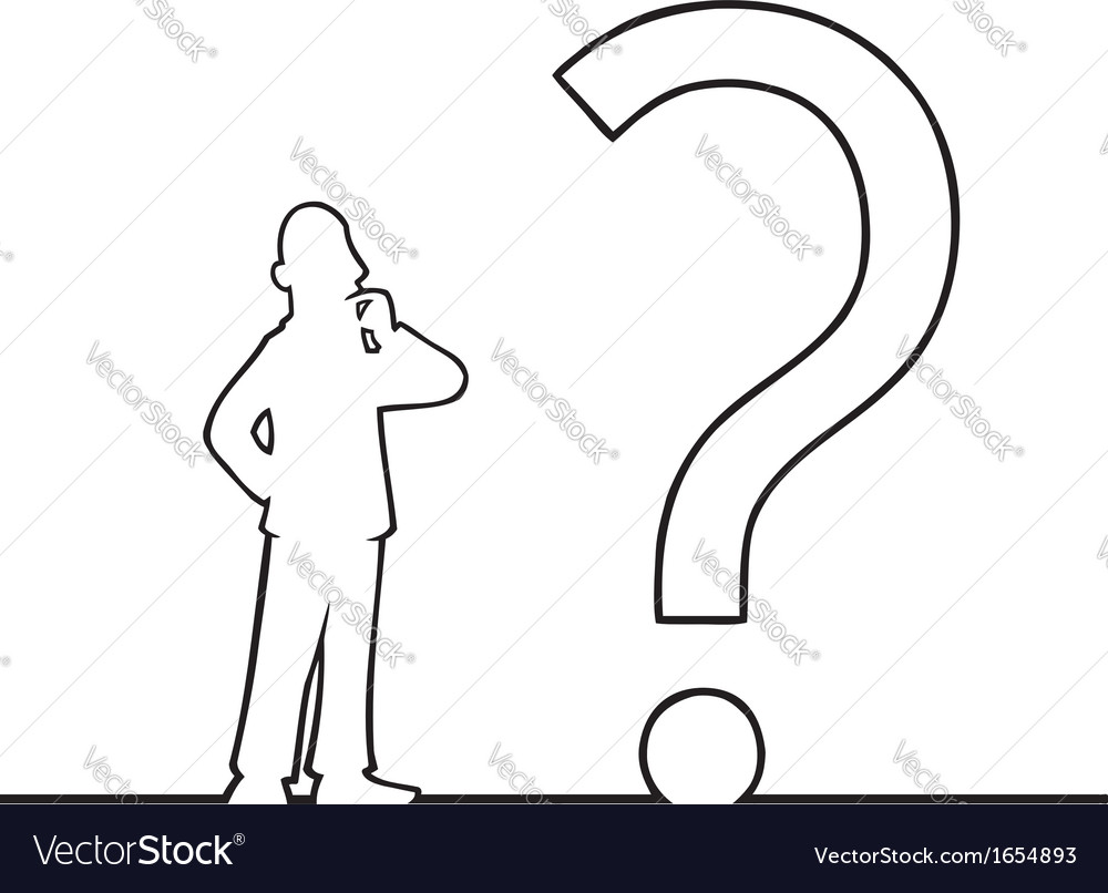 Man with big question mark vector image