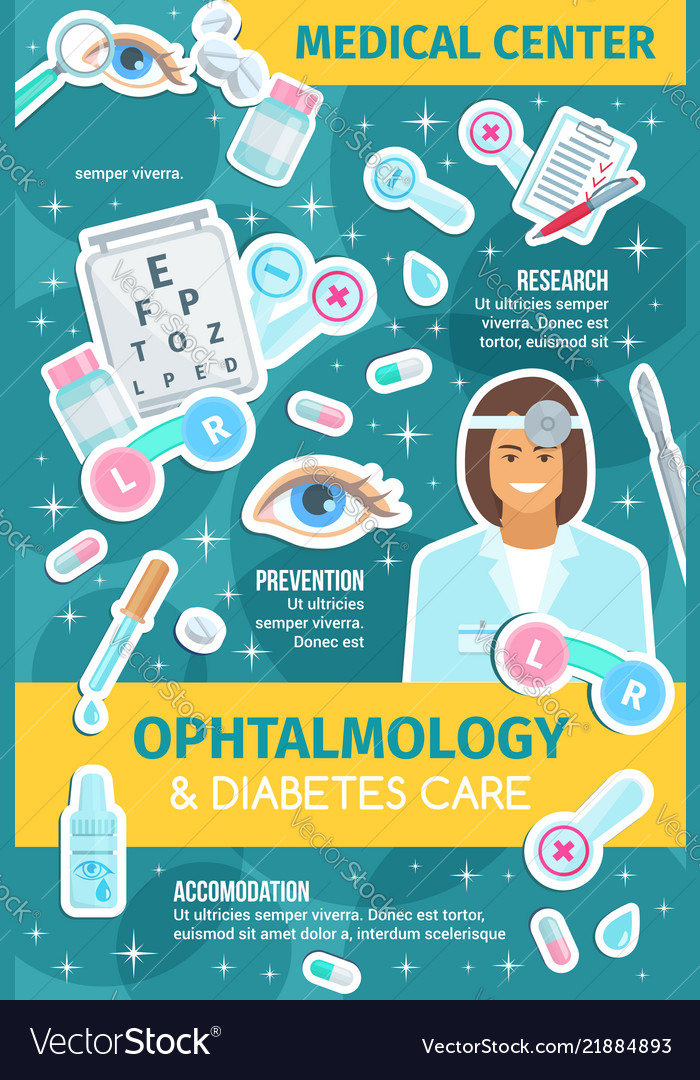 Ophthalmology medicine items and doctor
