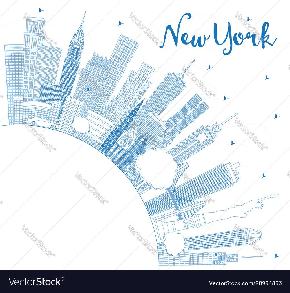Outline new york usa city skyline with blue