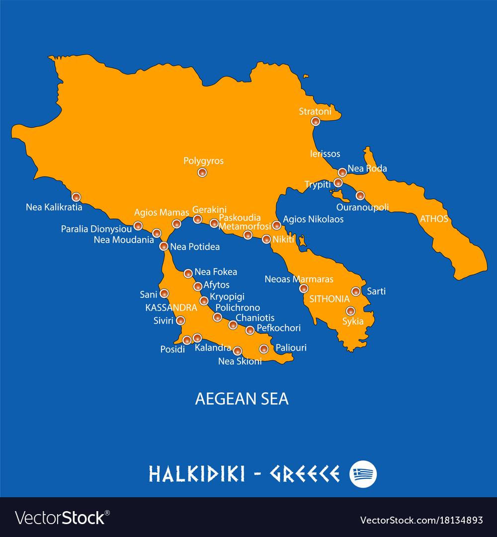 Peninsula Of Halkidiki In Greece Orange Map And Vector Image