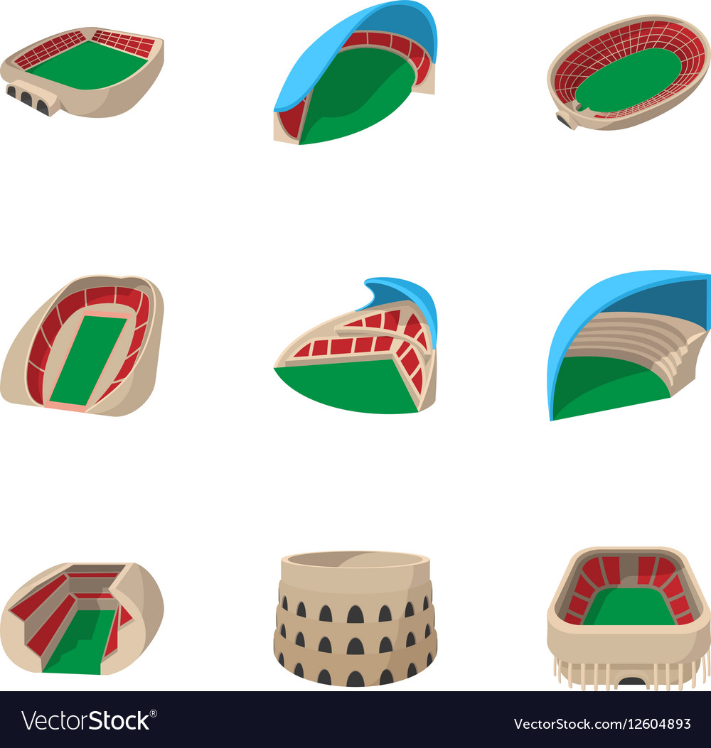 Sport construction icons set cartoon style vector image