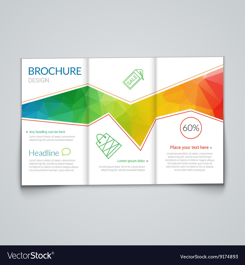 tri fold brochure design template with modern vector image